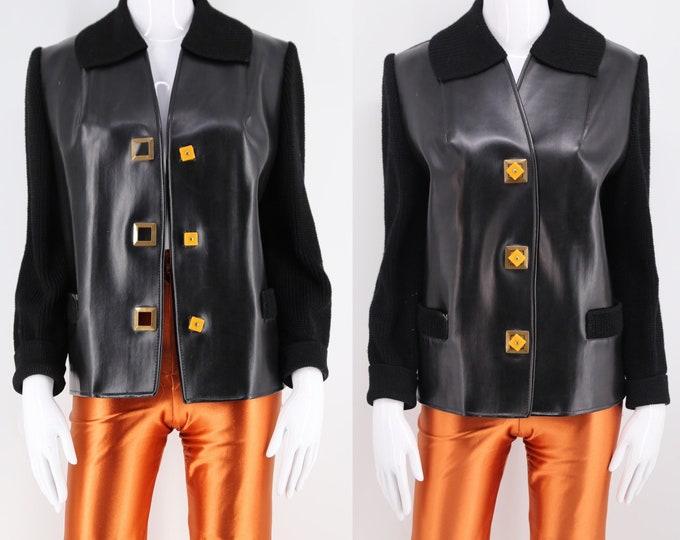 50s rare SPORTIGAN black vinyl and knit cardigan with bakelite buttons / vintage 1940s 50s slick sweater sleeve cardigan jacket
