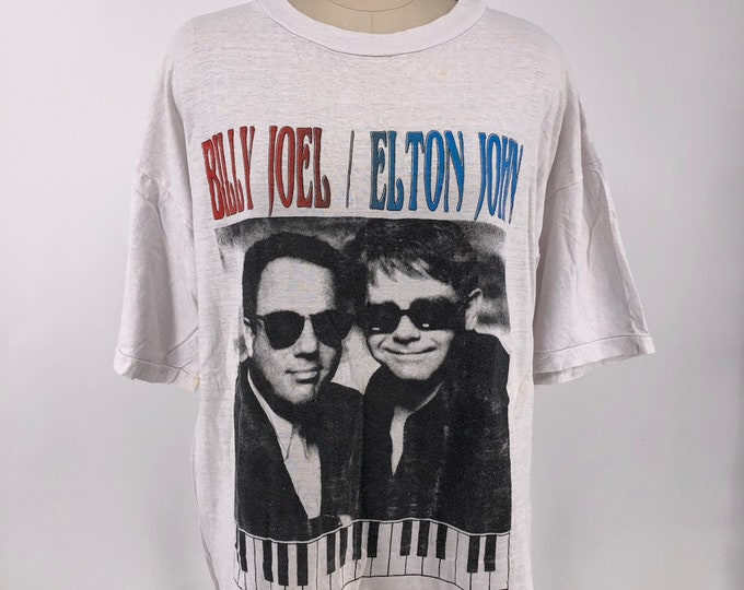 ELTON JOHN & BILLY JOEL 1995 T shirt L XL