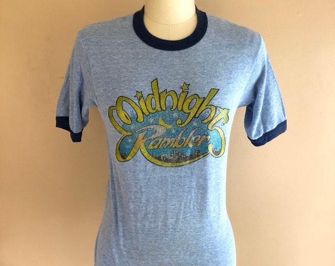 70s MIDNIGHT RAMBLER blue ringer T-shirt / vintage 1970s novelty sparkly graphic top sz L