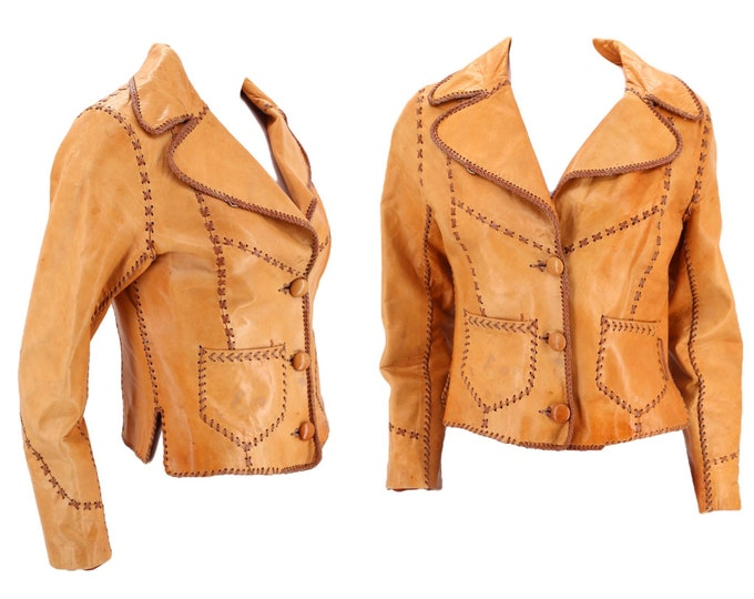 70s tan leather custom jacket M / vintage 1970s Rock and Roll unisex stitched leather coat 6