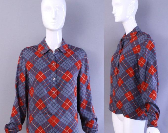 80s GEOFFREY BEENE argyle plaid Silk Printed Blouse tunic top vintage size 10 1980s 70s