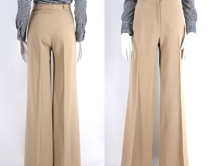 70s French high waist khaki wide leg bell bottoms 8 / vintage 1970s wool fitted trousers pants 42 8