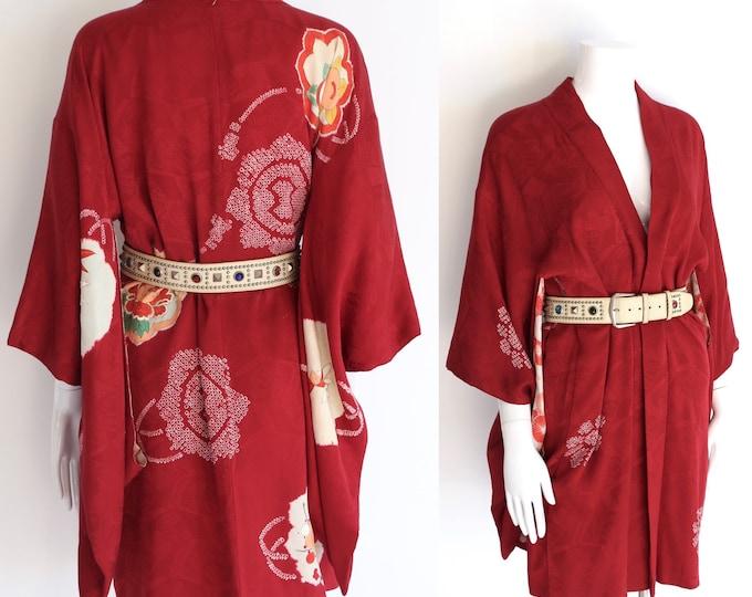 vintage red silk Japanese kimono / 50s cherry blossom print short kimono robe