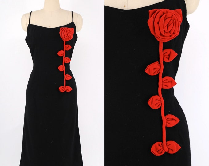 60s 3D floral vine appliqué black wool wiggle dress L