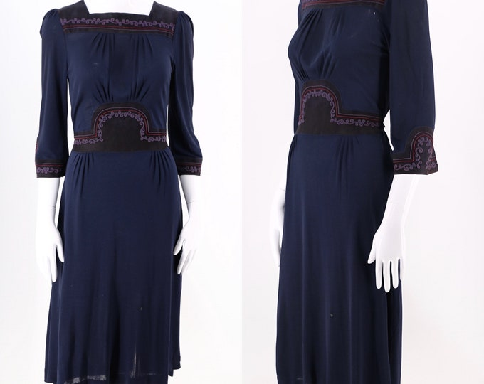 70s ANN BUCK navy silk jersey & suede dress / vintage 1970s appliqué day dress Made in England UK 8
