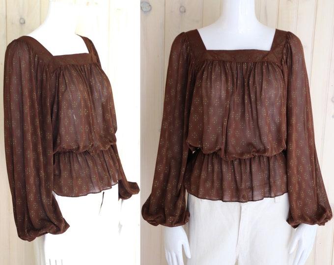70s GOTTEX peasant top sz S /  vintage 1970s sheer peasant sleeve boho blouse shirt Israel