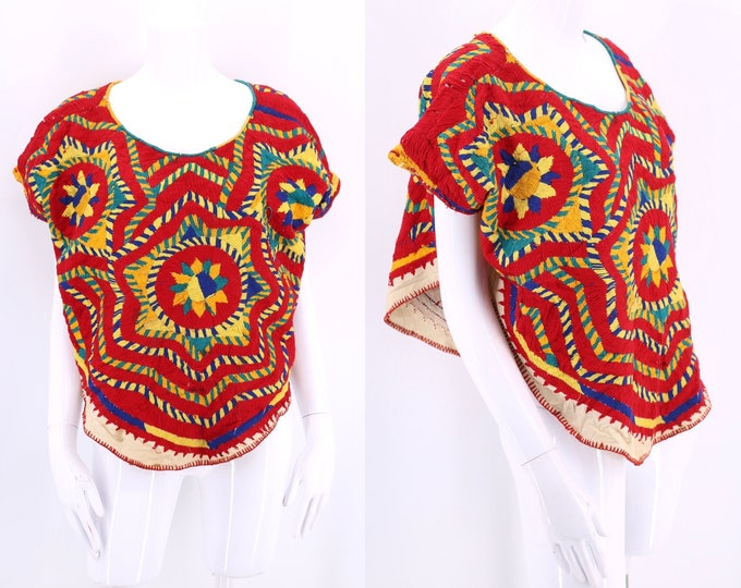 vintage hand embroidered South American poncho top / 60s 70s antique handmade folk craft blouse