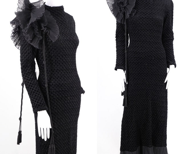 70s Giorgio Sant Angelo smocked black velvet evening gown / 1970s vintage designer dress w/ pleated shoulder and rope tassel