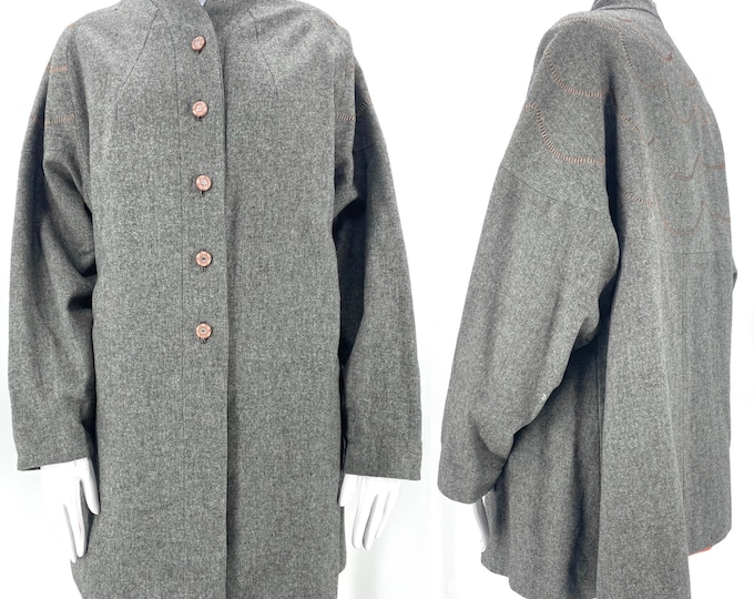50s vintage gray wool swing coat Med  / vintage 1950s scalloped stitched mid century lightweight car coat M