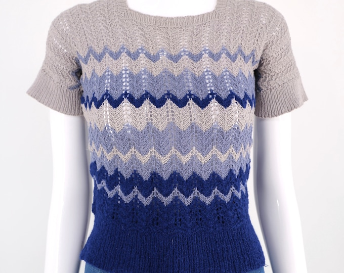 40s zig zag knit sweater sz s / vintage 1940s tight fit blue gray 30s top