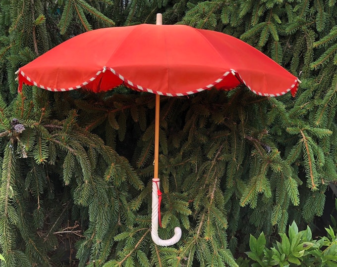30s PARASOL in tangerine taffeta with pinstripe trim and celluloid handle 1930s vintage