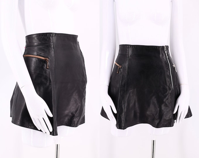90s CLAUDE MONTANA black leather mini skirt sz 6 / vintage 1990s State of Montana hi rise zipper A line micro mini