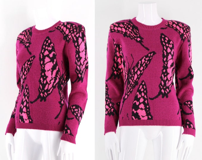 80s BETSEY JOHNSON punk label sweater size M / fuchsia hot pink butterfly print vintage knit top 1980s