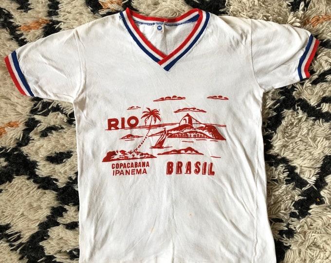 70s RIO Brazil flocked velvet white cotton ringer T shirt / vintage 1970s tourist tee sz S