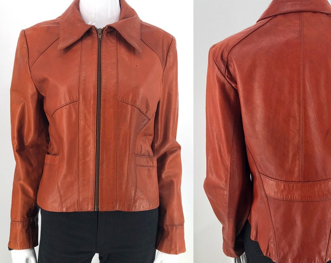 70s WILSONS leather unisex cognac leather jacket 14 /  vintage 1970s shrunken fit seamed cafe racer jacket bust= 38-40