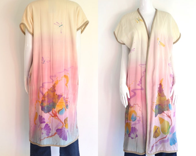 70s hand painted silk duster kimono / vintage 1970s art to wear handmade quilted watercolor painted coat duster sz L
