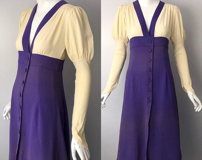 70s OSSIE CLARK Radley moss crepe 2 tone cream & lilac puff sleeve DRESS 1970s vintage