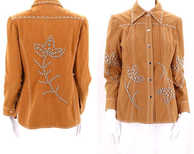 70s DOTTI DIDIT studded denim jacket  / vintage 1970s tan metal studded tailored brushed cotton shirt jacket