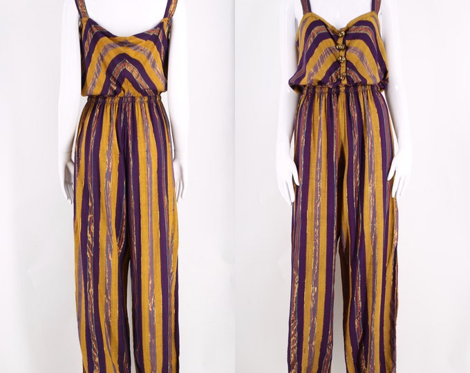 70s India rayon lurex striped jumpsuit sz L  / vintage 1970s harem style billowy peasant one piece jumpsuit w/ bells  sz L / 12