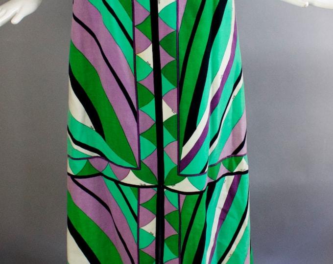 "60s EMILIO PUCCI velvet velveteen signed psychedelic print split front maxi SKIRT 1960s vintage 27"""