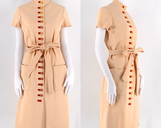 60s Norman Norell I Magnin beige wool sash dress w/ rows of gold buttons / vintage 1960s day dress 6-8