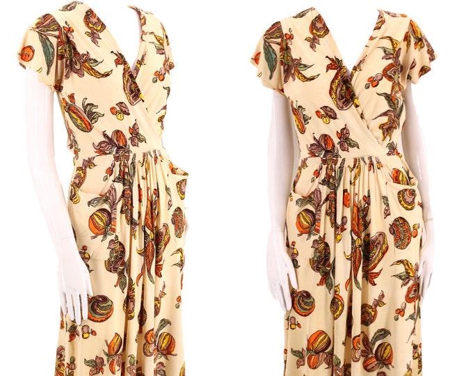 40s novelty print day dress S / 1940s womens nylon rayon dress small 30s 1940s
