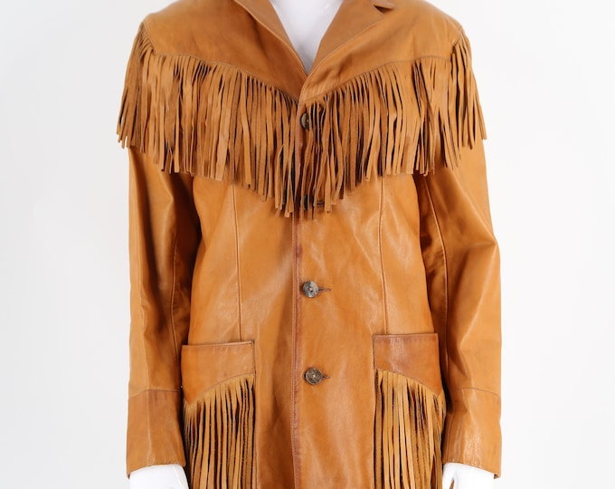 70s Ralph Lauren tan leather Western fringe jacket / vintage 1970s Polo classic jacket size 10