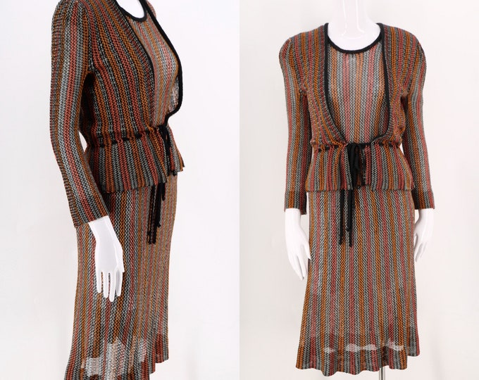 "70s knit MARY FARRIN England 3 pc outfit / 1970s vintage elegant knitwear skirt top cardigan set sz M / 38"" bust"