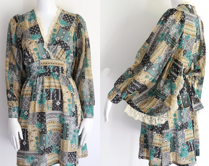 60s mini dress / vintage 1960s sheer print angel sleeve sash dress bandanna print size 8