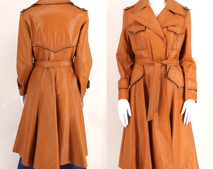 70s caramel leather trench coat sz M / vintage 1970s WILSONS belted brown womens coat sz 10 / M