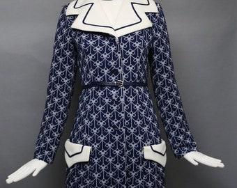 831eb14b21d3ae 20% OFF 60s LILLI ANN Knit navy poly jersey print Coat & dress set w/ belt vintage  1960s