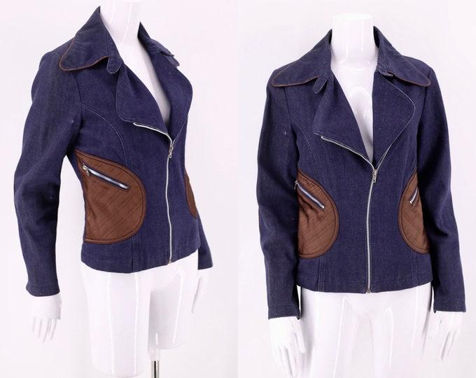 70s Roncelli denim Applique Cotton Jacket / vintage 1970s satin applique custom zipper jacket sz 13 / M