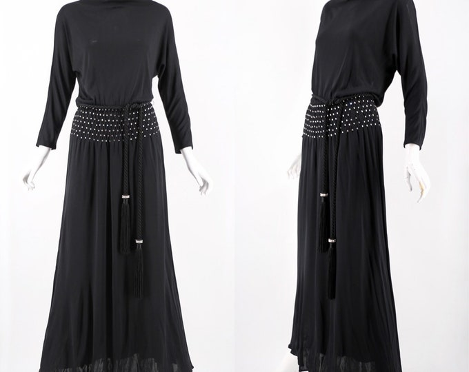 70s MOLLIE PARNIS black jersey gown with thick tassels