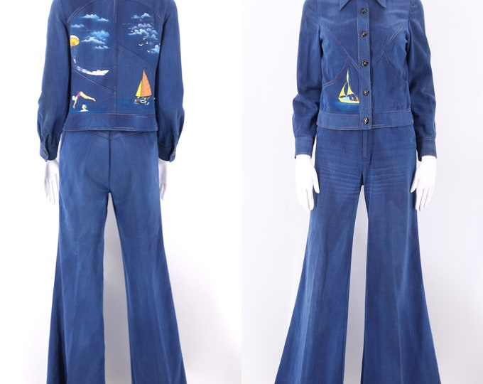 70s RONCELLI denim bell bottoms suit 8 / vintage 1970s bell bottom suit brushed denim HAND PAINTED jacket and pants sz 7/8