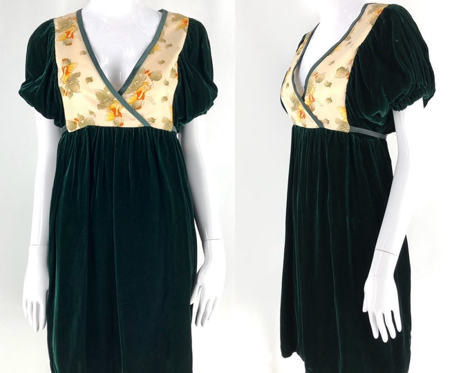 "60s Corky Craig fairy novelty print baby doll dress / 1960s vintage green velvet mini 34"" bust"