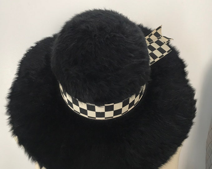 1900s EDWARDIAN black fur wide brim check ribbon trim PICTURE portrait hat 1910 vintage