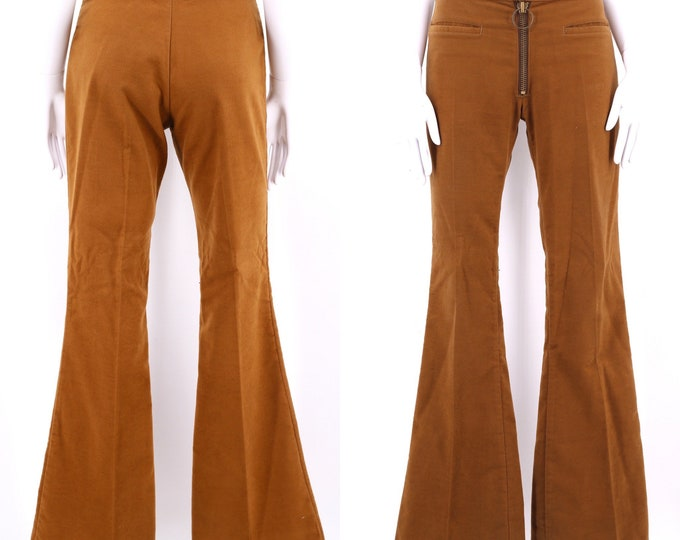 70s tobacco felt O ring bell bottoms 30  / vintage 1970s Male brand soft tan brown flares pants sz 6-8