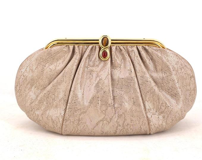 lizard JUDITH LEIBER beige silver jeweled clutch / vintage 1980s Karung lizard skin leather gold frame purse shoulder bag cross body