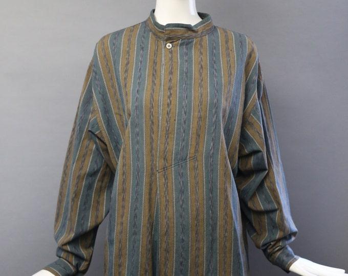 80s ISSEY MIYAKE woven print striped mandarin collar TUNIC blouse shirt top unisex S vintage japan 1980s