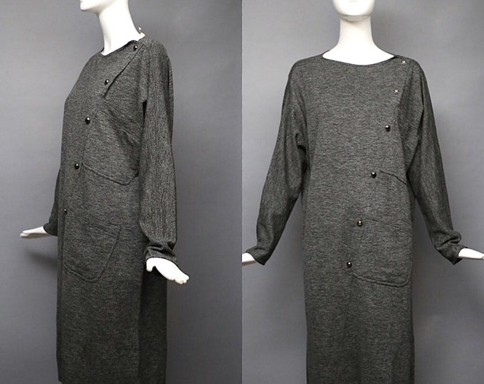 80s GEOFFREY BEENE charcoal gray easy slouchy seamed tunic DRESS 40 vintage 1980s