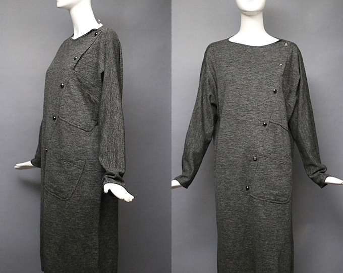 80s GEOFFREY BEENE tunic dress / vintage 1980s  charcoal gray easy slouchy seamed top 40