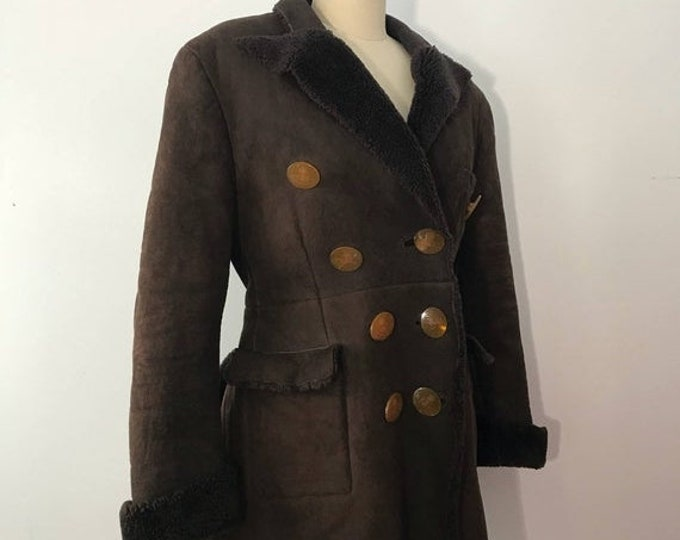 25% OFF 90s VIVIENNE WESTWOOD Victorian flared chocolate suede & Shearling logo button coat vintage 1990s