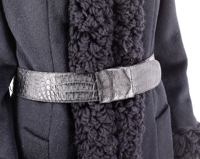 90s DONNA KARAN black belt M / vintage 1990s genuine crocodile wide belt M croc dkny