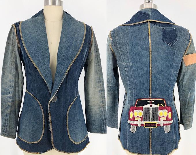 70s NOVELTY APPLIQUE denim patchwork Levis vintage custom blazer jacket 1970s M