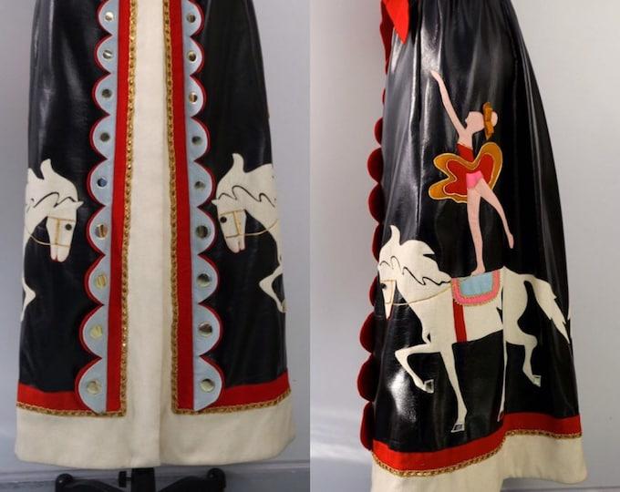 60s MALCOLM STARR circus ballerina felt appliqué PATENT leather maxi skirt vintage 1960s rare