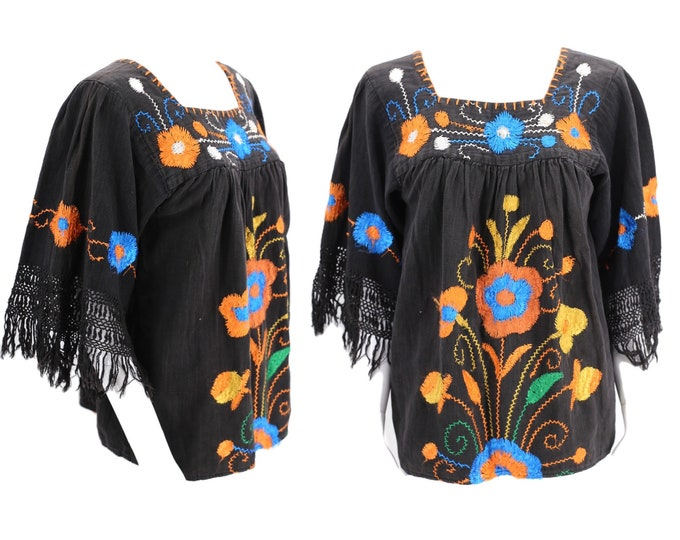 70s black embroidered Peasant Blouse sz M / vintage 1970s loose and draped floral folk festival top