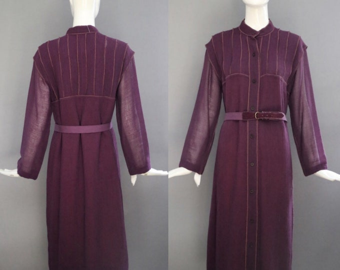 70s GEOFFREY BEENE dress / crinkle wool crepe plum belted elegant ladylike shift vintage 1970s 8 -1 0