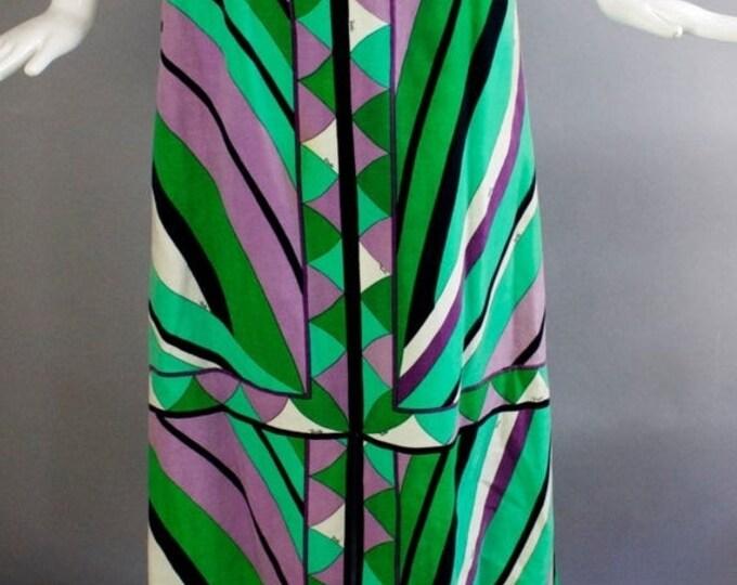 "25% OFF 60s EMILIO PUCCI velvet velveteen signed psychedelic print split front maxi Skirt 1960s vintage 27"""