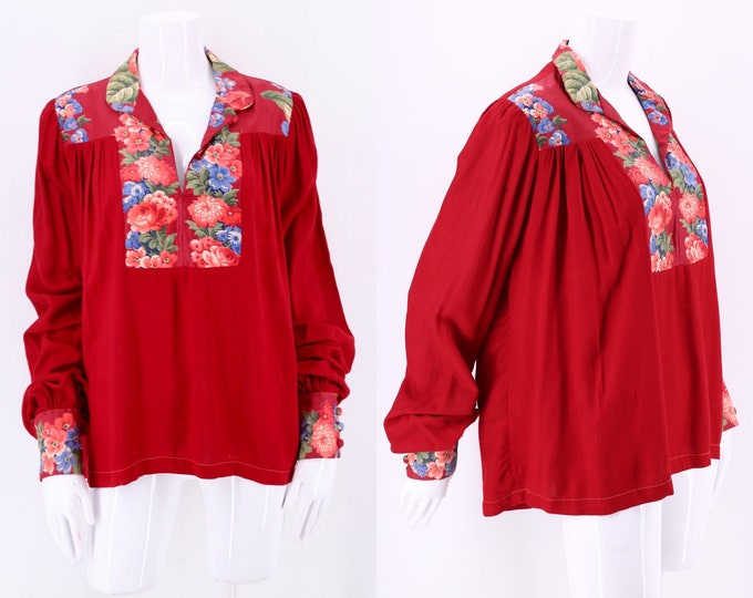 70s crimson Floral Cotton Peasant Blouse sz M / vintage 1970s loose and draped festival top
