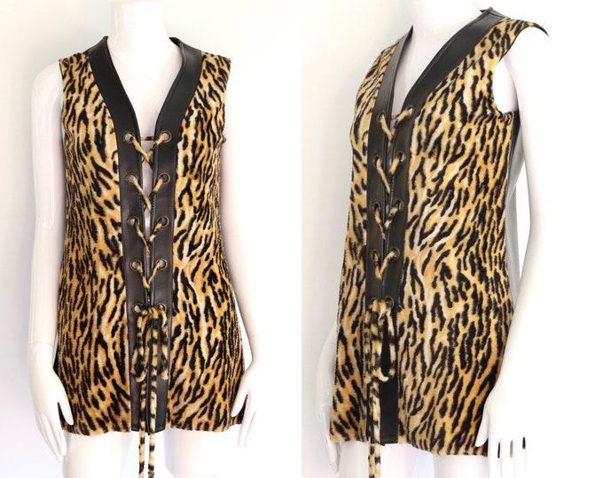 60s faux leopard lace up Gillet top / vintage 1960s fake fur & vinyl bad girl vest mini dress sz M